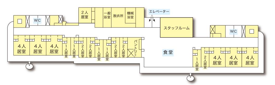 桐ヶ丘やまぶき荘2階から4階 見取り図
